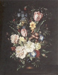 a still life with tulips, peonies, a daffodil and other flowers in a vase by j. reinhardt