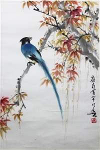 magpie and maple by huang huanwu