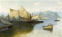 küstenszene mit segelschiffen in süditalien by erminio cremp