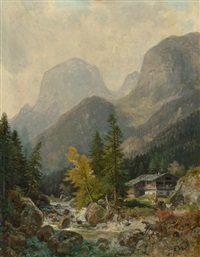 auf dem weg nach hintersee (wildbach im berchtesgadener land) by ludwig sckell