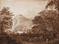 schafe und ziegen unter hohen bäumen mit weitem blick auf ein dorf und ein alpenmassiv in der schweiz by friedrich christian reinermann