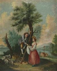 kirschenpflückendes paar mit schafen in idyllischer landschaft by anonymous-swiss (19)