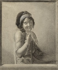 bildnis einer jungen frau an einer fensterbrüstung sitzend (selbstbildnis?) by marie-denise villers