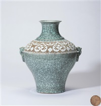 哥窑刻花耳环瓶 (a ge ware vase with rings) by xu chaoxing