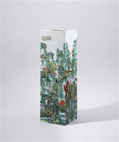 古彩通景山水剑筒 a gucai landscape sword tube by rao xiaoqing