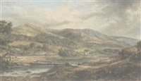 an extensive landscape with rolling hills and a figure by a bridge in the foreground by mark edwin dockree