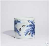 斗彩小鸡笔筒 (a doucal chicken brush pot) by qi peicai