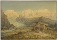 hochalpine gletscherlandschaft mit bauernhaus by james william garrett smith