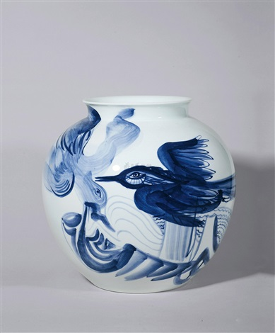 青花飞鸟瓶 a bird vase by jared