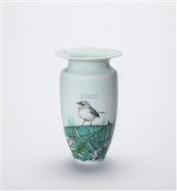 釉上彩芭蕉小鸟瓶 (a plantain and bird vase) by dai yumei