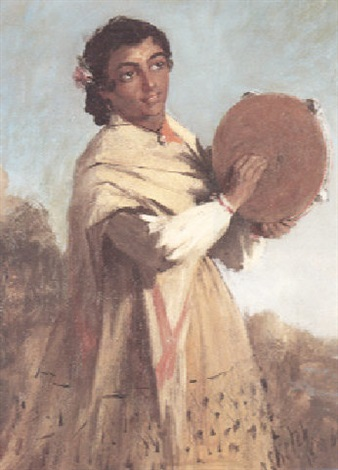 a spanish girl playing a tambourine by william ewart lockhart