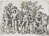 das bacchanal (after mantegna) by daniel hopfer