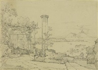 lot von zwei ansichten: 1. blick von der villa cedronia auf neapel und vesuv; 2. ansicht von neapel. verso: porträtstudie (2 works) by achille vianelli