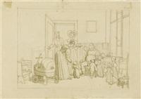 der grossvater im kreise seiner kinder und enkel by johann michael (volz) voltz