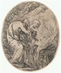 der tod führt einen alten mann zum grab by stefano della bella