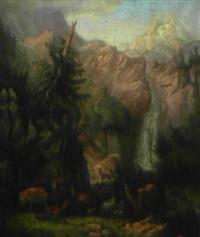 rotwild im hochgebirge by hermann fleischhauer