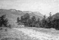 ochsengespann in berglandschaft by carl hermann münch