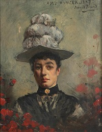 a portrait of a lady in black wearing a white feather hat by edmond picard