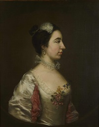a portrait of a lady, thought to be teresa lanti by gainsborough dupont