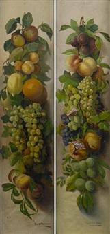 a swag of various fruit (+ a still life; pair) by hugh fletcher