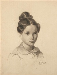 a portrait of a young girl by alphonse legros