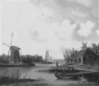 kanallandschaft mit segelbooten und windmühle by conrad ahrendts