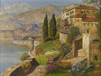 a villa on a sunlit bay by gottfried arnegger
