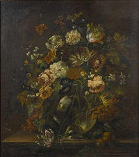 a still life with a vase of flowers by continental school