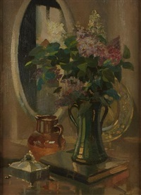 a still life with a vase of flowers on a table by george ayling