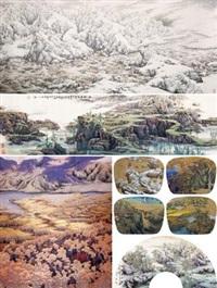 十月 瑞雪 苍茫横翠微 四季山水 日落山水静 (5 works; various sizes) by tu peiyou