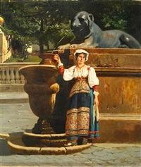 a peasant girl standing at a fountain by francesco raffaello santoro