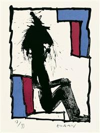 mann auf einem stuhl by pierre alechinsky