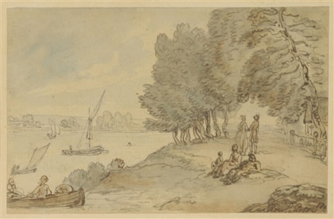 boats on the thames near richmond by thomas rowlandson