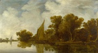 a wooded river landscape with sailing boats by rafael govaertsz camphuysen