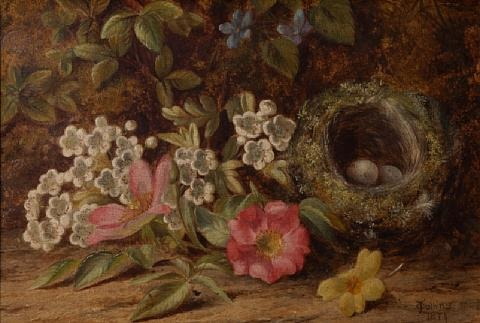 a still life with birds nest and flowers by thomas collins