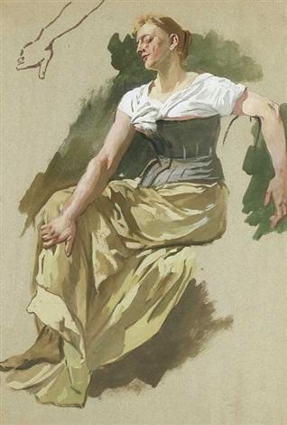 studie einer sitzenden jungen frau mit detail des re arms in der ob li ecke by wilhelm trübner