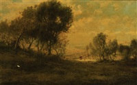 a wooded landscape with cattle watering in a pond by patrick vincent berry