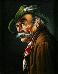 a portrait of a tyrolean man by inge wolfle