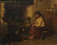 a girl and a dog in a cottage interior by james cole