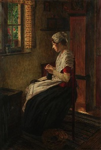 an interior scene with a woman seated by a window knitting by walter firle