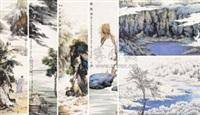 访友图 举头望明月 轻舟已过万重山 高秋图 (album)(6 works; various sizes) by tu peiyou