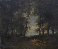 a wooded landscape with chickens in a clearing by patrick nasmyth