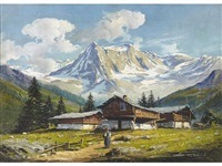an alpine landscape; also a companion painting (pair) by licinio campagnari