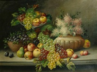 a still life with grapes and apples on a table by rudolf