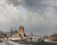 skaters on a frozen canal by louis smets