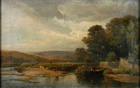 a pastoral landscape with cattle grazing on a hillside (+ another; pair) by william (of plymouth) williams