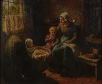 a mother and children in an interior by louis soonius