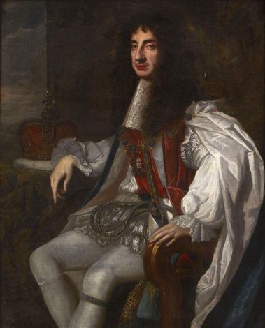 a portrait of charles ii wearing robes of the order of the garter by sir peter lely