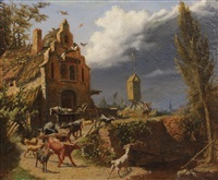 a shepherd boy driving a herd of goats; together with a painting of a similar subject (pair) by belgian school (19)