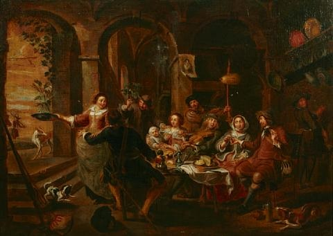 figures in a tavern interior by willem van herp the elder